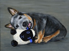 Australian Cattle Dog puppy painting