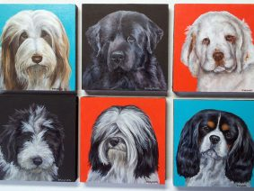 "4"" x 4"" dog breed paintings"
