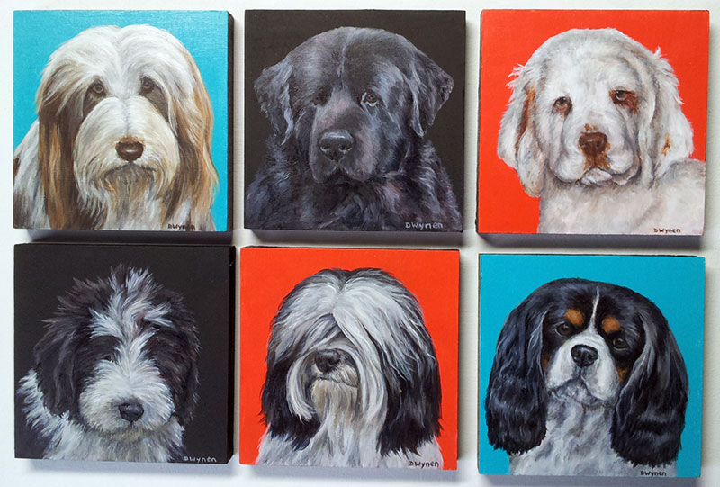 """4"""" x 4"""" dog breed paintings"""