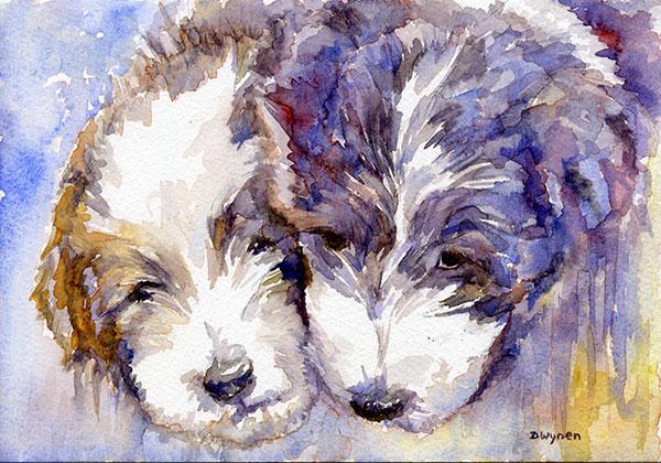 Bearded Collie (Beardie) Puppies Painting