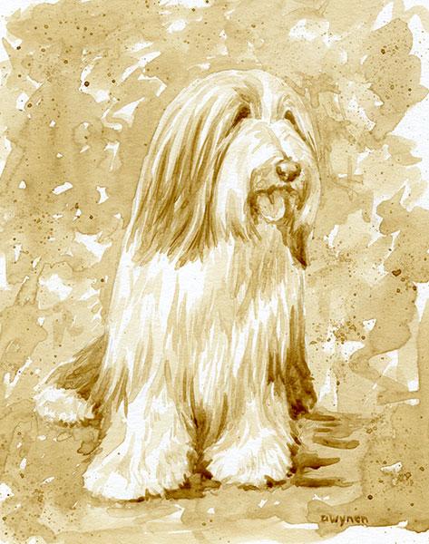 Bearded Collie (Beardie) Coffee Painting