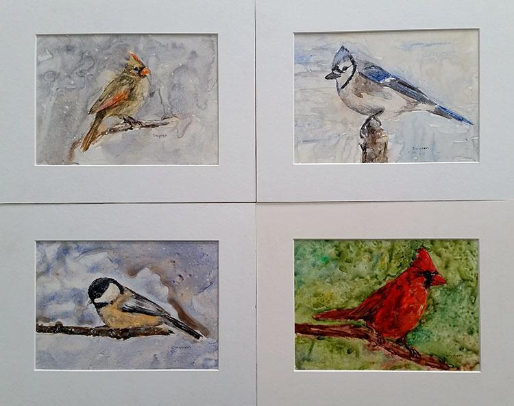 Bird watercolour paintings